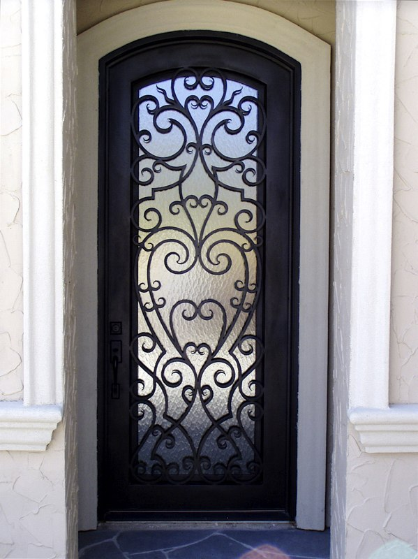 Custom iron ornate door designs presidio steel doors for Single front door designs